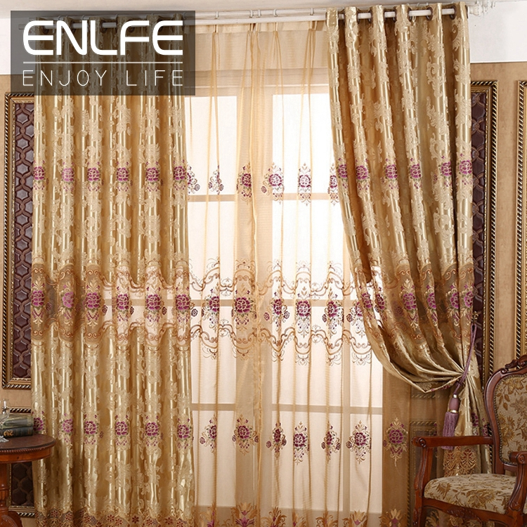 Enlfe Luxury Blackout Window Gold Curtains For Living Room High Grade Embroidery Hollow Curtain