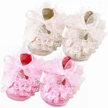Sweet Lace Toddler Girl Baby Shoes Infant Girl Non-Slip Princess Shoes Prewalker Free Shipping