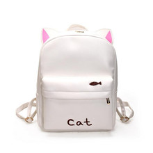 2017 Funny Cat PU Leather Backpacks Girls Embroidery Rabbit School Backpack Women Travel Bags Sack Mochila Escolar - Youth Industry Trade Limited store