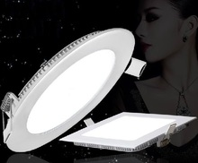 Ultra-thin led panel ceiling lights 3W 4W 6W 9W 12W 15W 18W circular and square type for kitchen led downlight(China (Mainland))