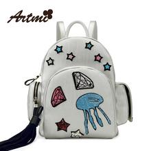 Women's PP Mochila Escolar Backpack Authentic Artmi 2015 New Retro Fashion Female Backpack Leisure Lovely Girl School Street Bag(China (Mainland))