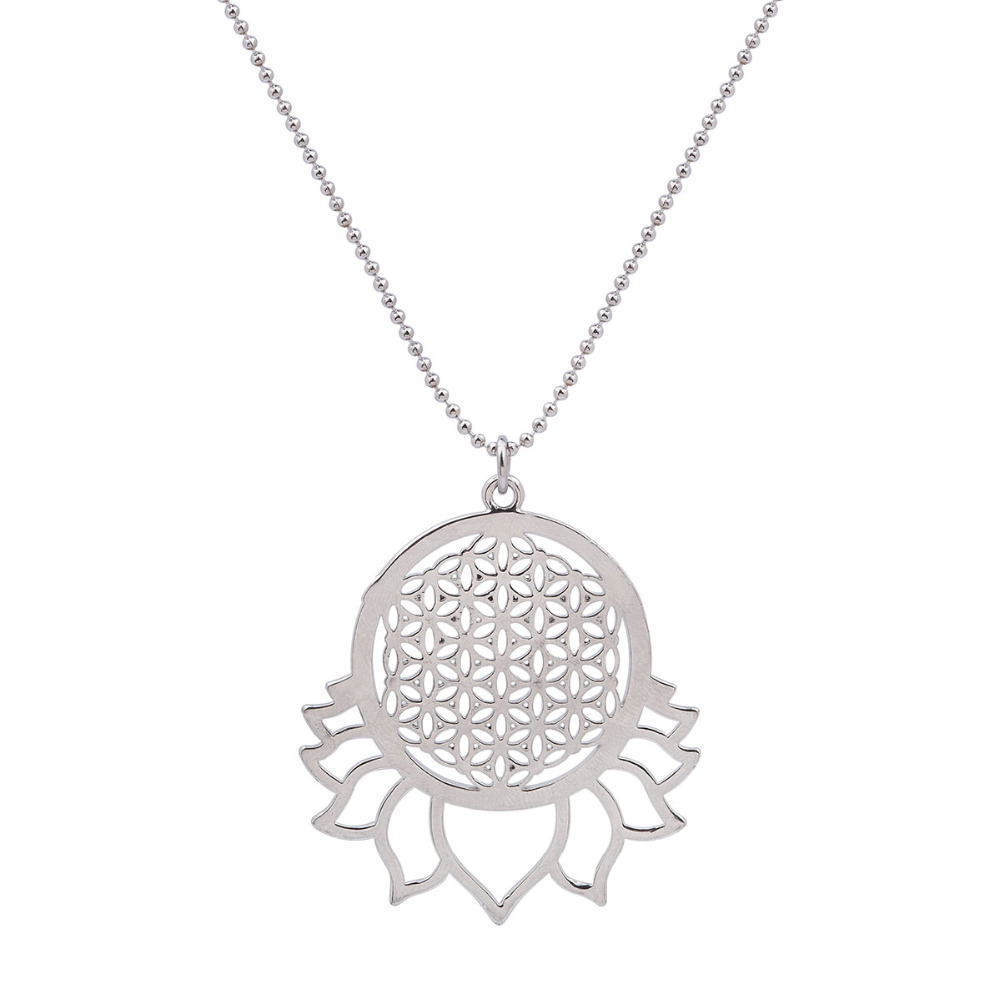 Handmade Flower of Life Necklace Silver Tone Hollow Carved Summer Fashion Jewelry 58.5cm 1Piece(China (Mainland))