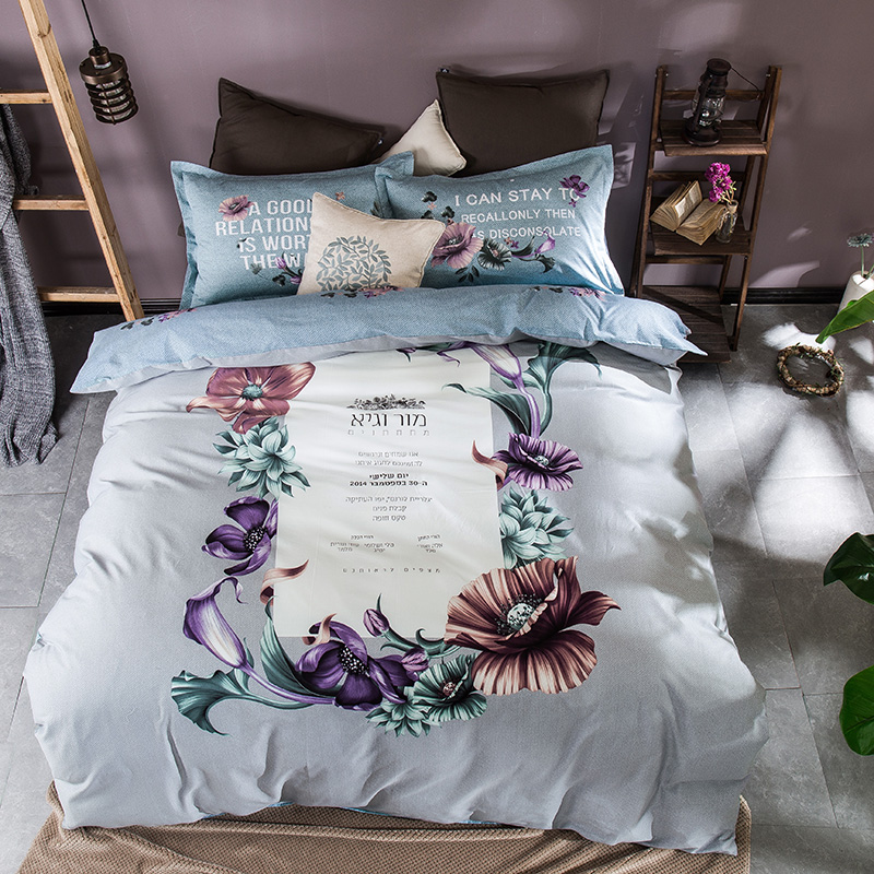 100% cotton comforter set,queen twin full size comforter bedding set,flowers printed comforter cover bed sheet pillowcase(China (Mainland))
