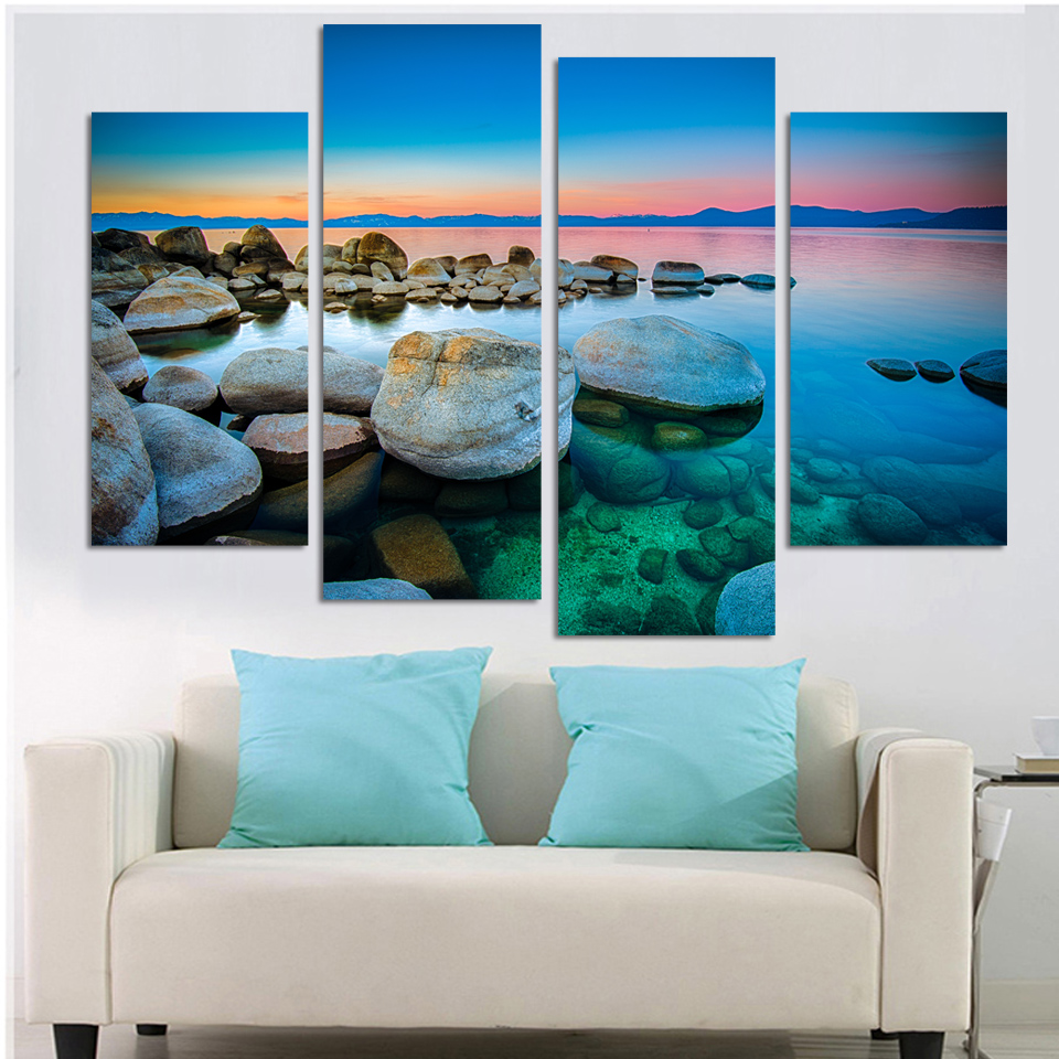 4 Panels Canvas Stones On Beach Painting On Canvas Wall