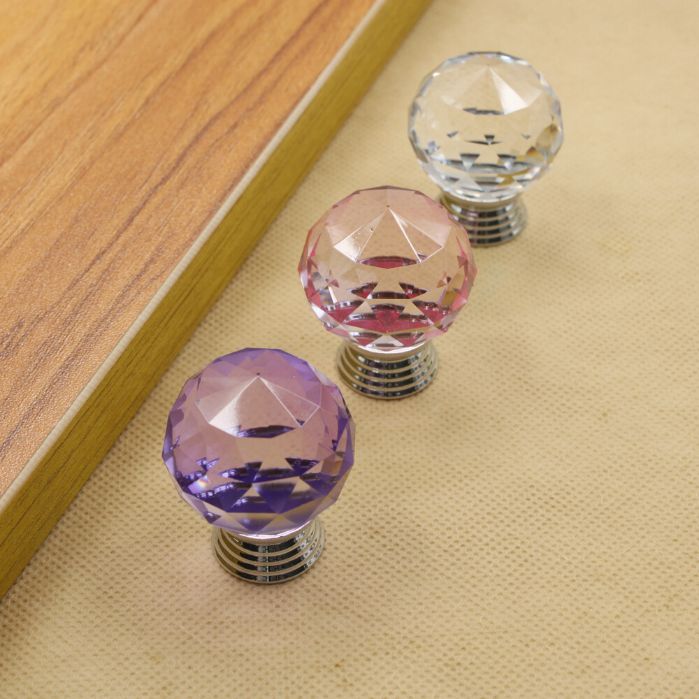 10 pcs/lot 30mm purple pink transparent crystal (ball shape) single door knob/handle/pull cabinet drawer accessory #311(China (Mainland))