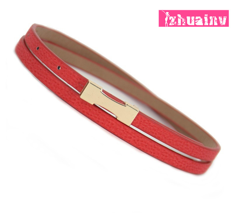 Women's Belts 2015 New style superfine genuine pigskin mixed narrow waist belt for female(China (Mainland))