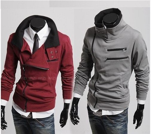 Free shipping South Korean Men's Hoodies Jacket Sweatshirt Zippered Light grey/Black/Purple/Clared-red M-XXL W07