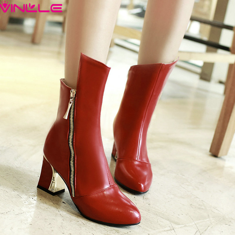 VINLLE Fashion Female ankle boots new autumn and winter women boots women's Platform Boots high heel shoes size 34-43