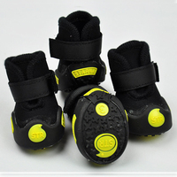 Pet Dog Shoes Waterproof Non-slip New Arrival Polar Fleece Winter Warm Boots Small Dog Puppy Shoes 4 Colors 4 pcs/set