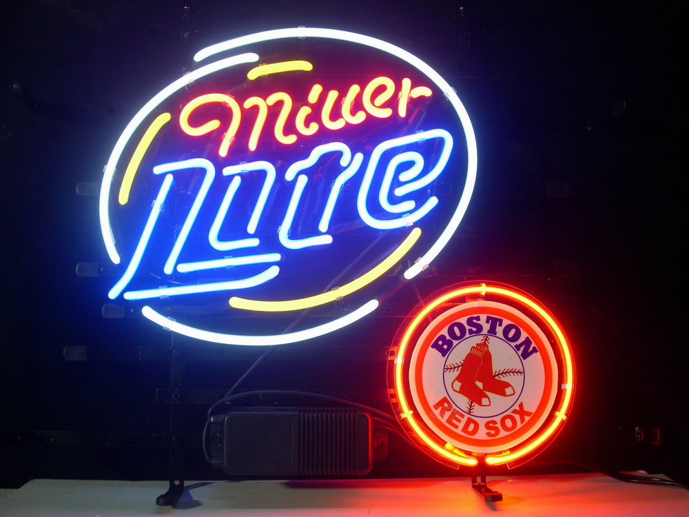 "Business NEON SIGN board For BOSTON RED SOX MILLER LITE BEER LAGER REAL GLASS Tube BEER BAR PUB Club Shop Light Signs 17*14""(China (Mainland))"