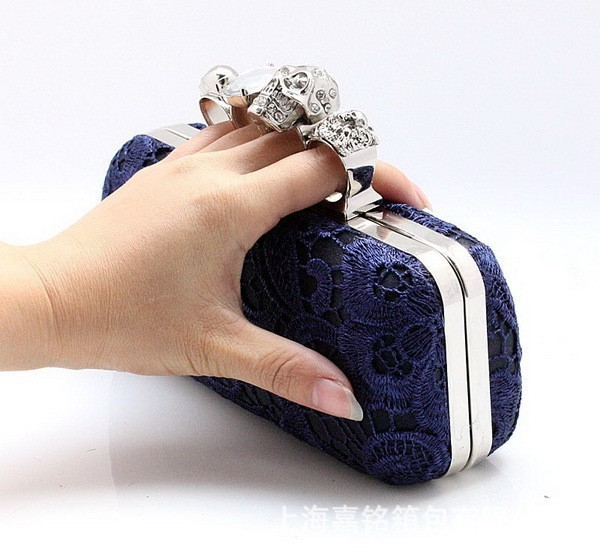 New Arrival Navy Blue Women's Satin Lace Shoulder Bag Exquisite Rhinestone Handbag Cosmetic Bag Chain Purse Size 19 x 9 03918-8(China (Mainland))