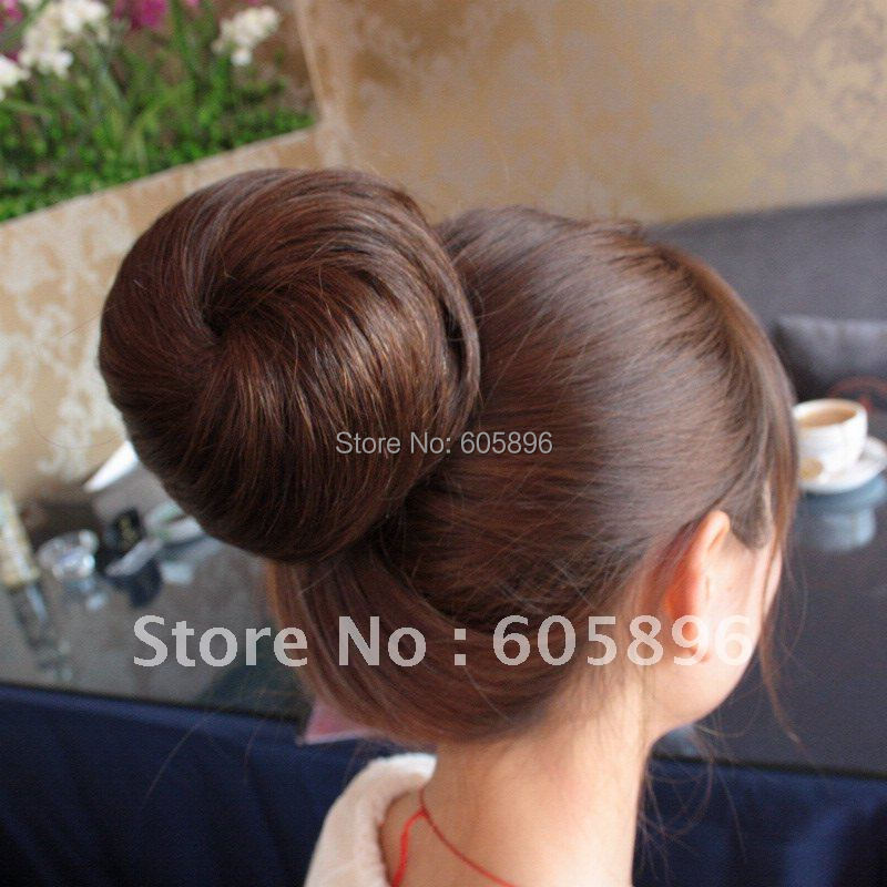 Free shipping-100% human hair bun naural black/light brown/dark brown girls' human hair chignon 26g-HOT(China (Mainland))