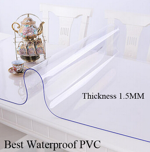 European Clear table covers PVC table cloth thick 1.5 MM tablecloth for christmas wedding Party banquet hotel Home Textiles(China (Mainland))