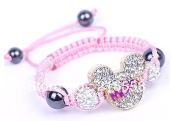 Fashion Jewelry Child Kids Baby Children Mickey Shamballa Bracelet New Tresor Allure CZ Disco Ball Beads 1pc Free Shipping