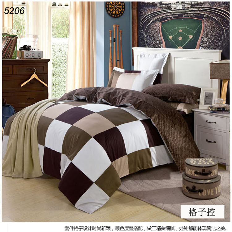 chess bedding set brow black white plaids bedding-set 100% cotton bed covers sheet brief home textiles plaids bed set 5206(China (Mainland))