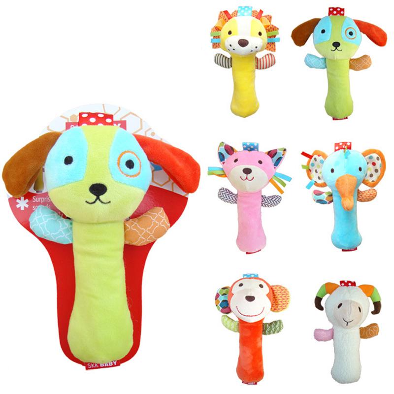 6 Patterns Animal Model New Infant Baby Rattles Soft Cartoon Cute Baby Plush Stuffed Toys Children Educational Handbells Mobiles(China (Mainland))