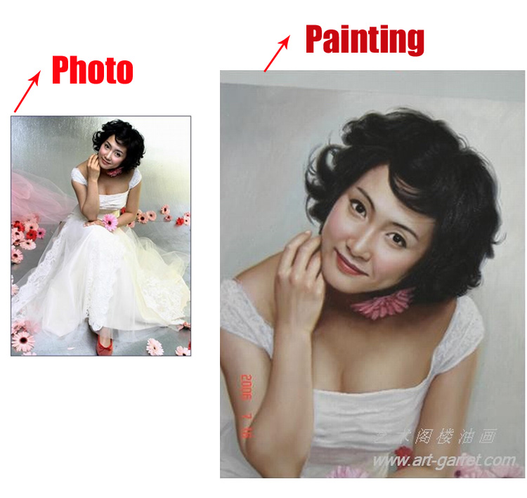 Hand-Painted Portrait oil painting on Canvas Custom from photos turn wedding pictures into paintings oil gift(China (Mainland))