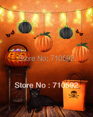 5pcs Halloween Spider Lanterns Halloween Ideas Paper Lanters Party Accessory Halloween Hanging Decorations(China (Mainland))