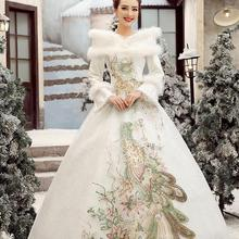 Buy Free New Line Embroidery Sweatheart Full Sleeve White Satin Bridal Wedding Dress Wedding Gown Vestido De Noiva 30245 for $56.99 in AliExpress store