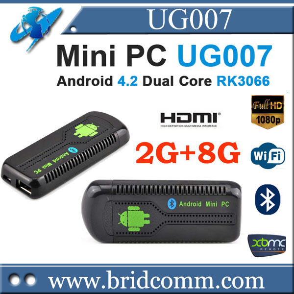 UG007 Android 4.2.2 Mini PC TV box RK3066 Dual Core Cortex A9 1GB RAM 8GB ROM 3D WiFi Bluetooth(China (Mainland))