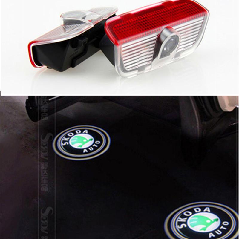 Skoda Car Logo Light Car Welcome Lamp Auto Laser Projector Light For Skoda SuperB 2009-2014(China (Mainland))