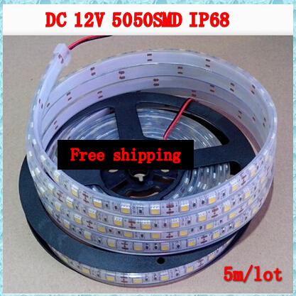 5m 300LED 12V 5050 SMD flexible Waterproof LED light strip IP68,60LED/m Cold white,White warm(China (Mainland))
