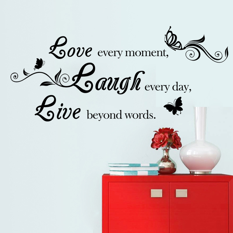 love every moment Quotes Black wall decal decor Bedroom Plane Wall Sticker Home Decor Wedding Decoration Art Mural(China (Mainland))