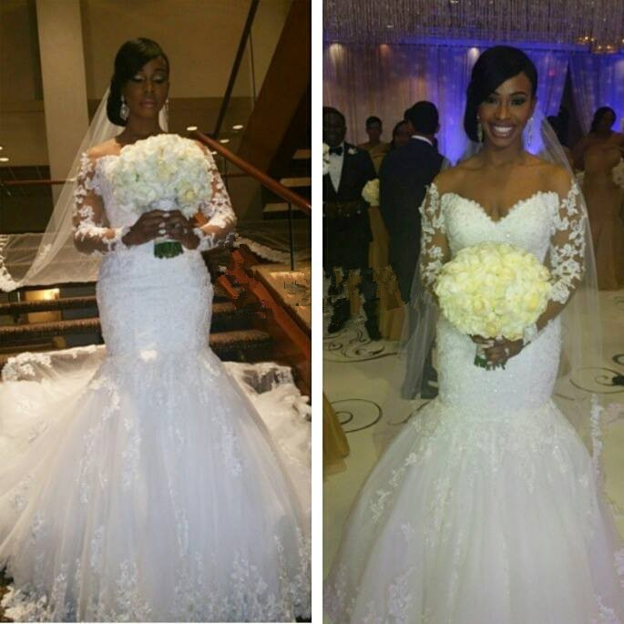 Plus Size Long Sleeve Mermaid Wedding Dresses : Sexy mermaid lace long sleeve wedding dress vintage