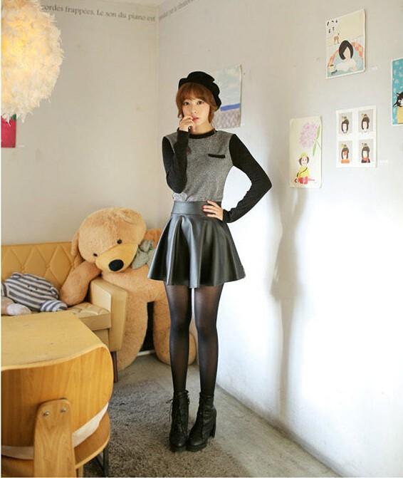 חדש 2014 אופנה קוריאנית שחורה עור PU חצאית נשים וינטאג גבוה מותן קפלים חצאית משלוח חינם נקבה חצאיות קצרות