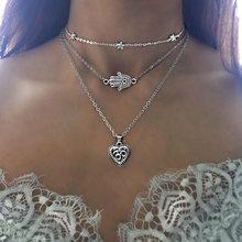 RAVIMOUR 19Style Boho colliers pour femmes Vintage or argent chaîne longue lune déclaration collier pendentif bohème tour de cou bijoux(China)