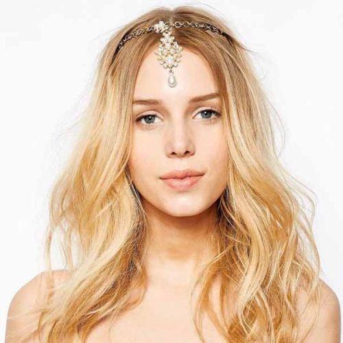 1PC Hot Sale Chic Gold Pearl Flower Crystal Drop Bindi font b Hair b font Clip