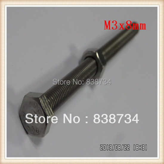 m3x8 304 stainless steel hex bolt (100pcs/lot)<br><br>Aliexpress