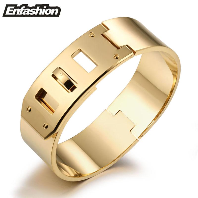 Fashion punk belt buckle cuff bracelet 18K rose gold plated stainless steel bangles bracelets for women wide bracelet wholesale(China (Mainland))