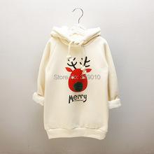 More Long Extended Thickening  Velvet kids boys girls hoodie  Deer Printed Korean Hooded Child Sweatshirt Outwear For Christmas(China (Mainland))