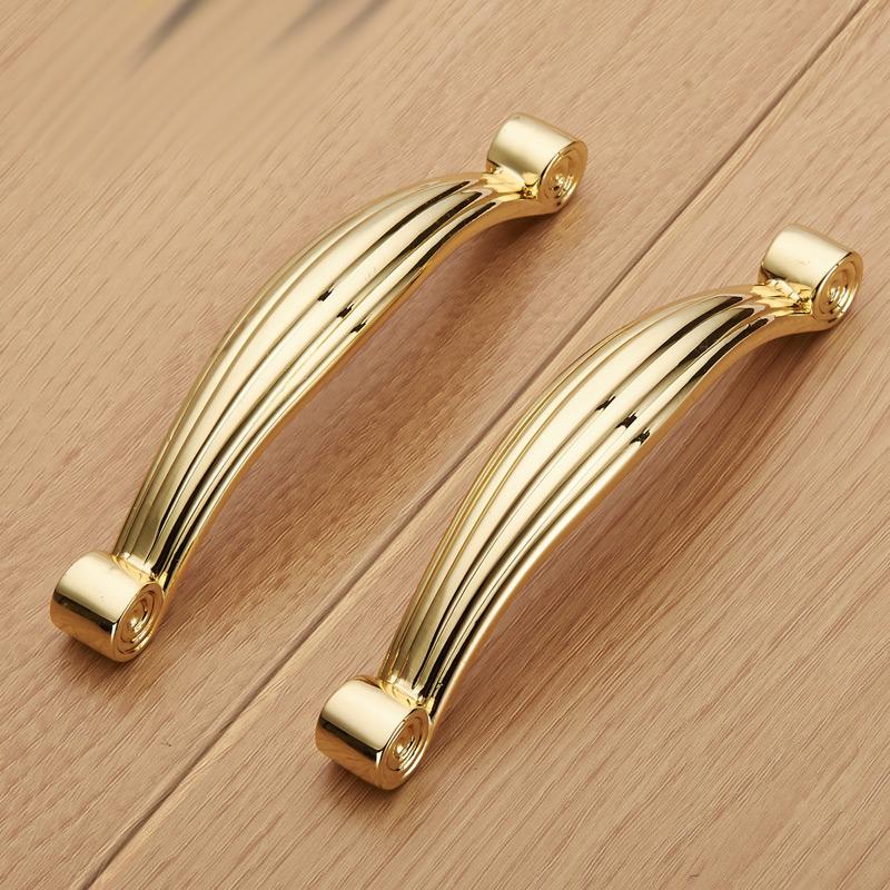 96mm Cabinet Handles Kitchen Bathroom Wardrobe Zinc Alloy Solid Gold Furniture Knobs Drawer Dresser Pull - Kungshu Phan Hardware Store store