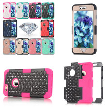 Buy LD Shockproof Impact Hybrid Hard Soft Silicone PC Protective Skin Case For Apple iPhone 6 6S 4.7 inch Phone Cover with Diamond for $6.89 in AliExpress store