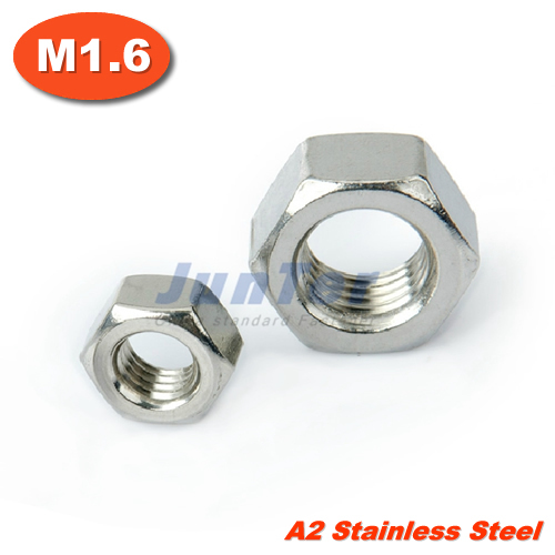 100pcs/lot DIN934 M1.6 Stainless Steel A2 Hex Nuts Metric(China (Mainland))