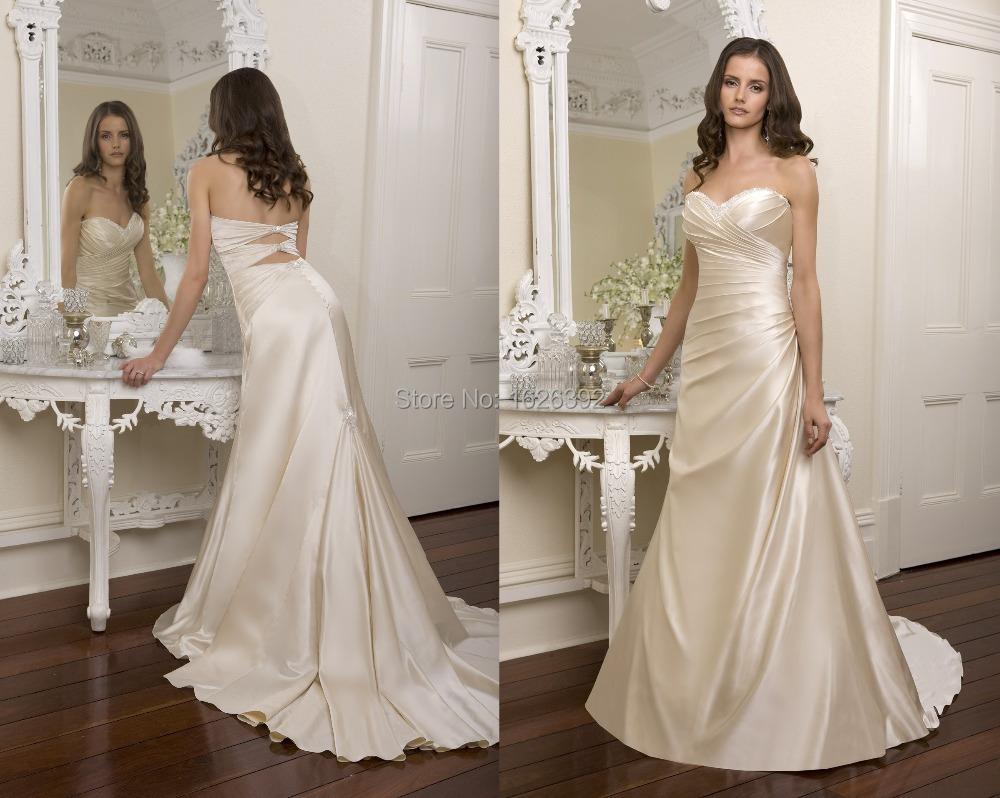 Chic Champagne Strapless Bridal Dresses Court Train Backless Beading Elegant Wedding Dress Brand 2015(China (Mainland))