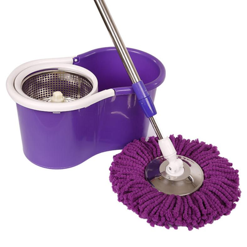 Dual-drive 360 rotating stainless reinforcing rods drying Easy Magic Floor clean mop bucket Microfiber Spin Mop with 3mopheads(China (Mainland))