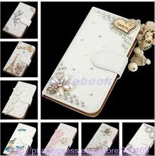 NEW  fashion Crystal Bow Bling Tower 3D Diamond Leather Cases Cover For HTC Desire 520(China (Mainland))