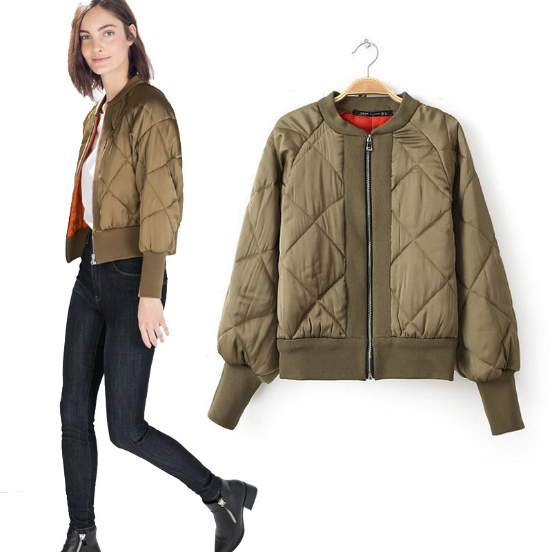 2015 Autumn Winter Women Bomber Jacket Khaki Zipper Coats ...