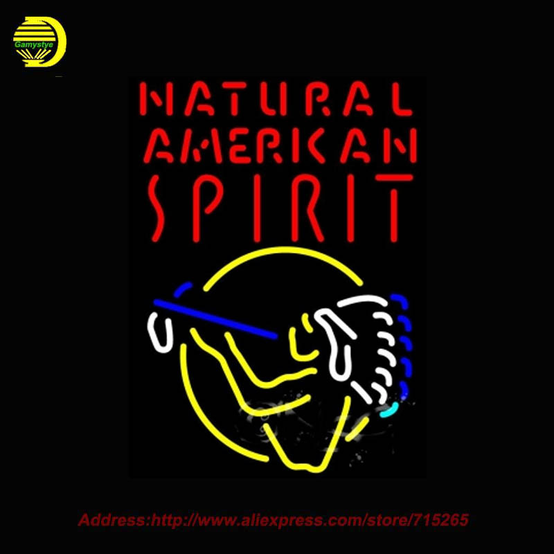 2016 Hot Neon Sign Natural American Spirit Indian Glass Tube Handcrafted Recreation Room Iconic Sign Window Lights 20x27(China (Mainland))