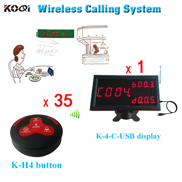 Wireless restaurant service button service paging system ( 1 counter number led display + 35 buzzer )(China (Mainland))