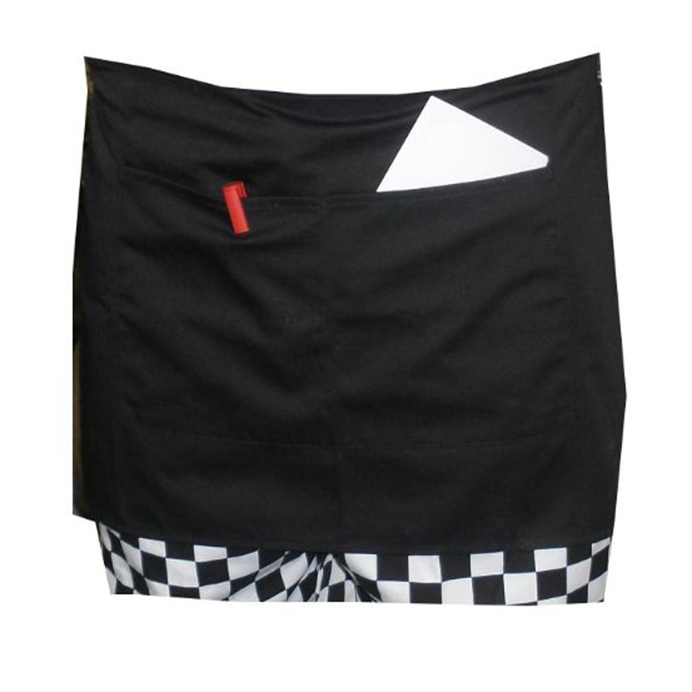 Durable Unisex Short Waist Apron with Pocket for Chef /Waiter /Waitress (Black)(China (Mainland))