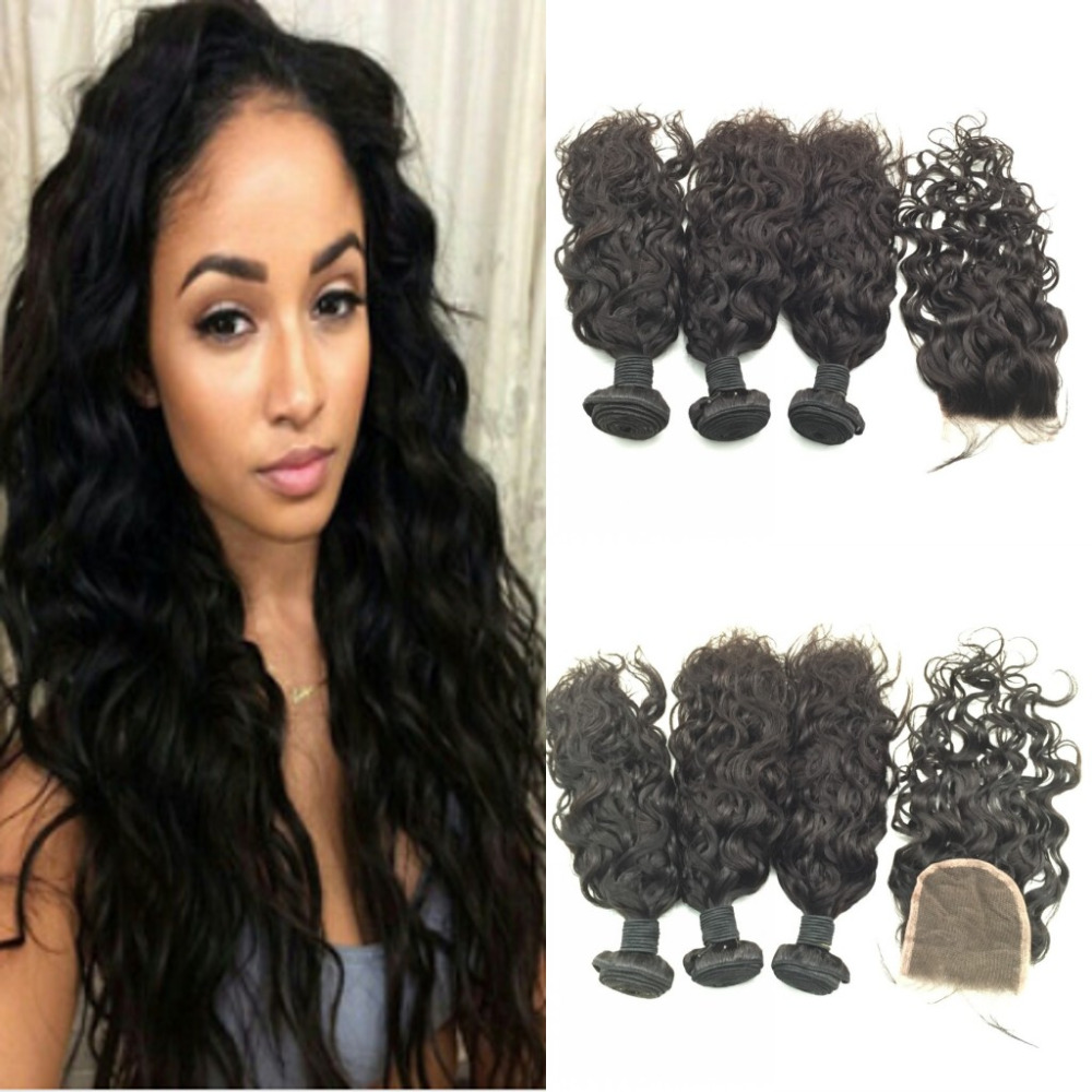 Здесь можно купить  Indian hair with closure water wave 3 bundles with closure Indian hair product with closure bundle hair with closure  Волосы и аксессуары