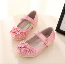 Hot 2016 Spring Big Flower Girls Shoes Fashion Princess Slip-on Children Shoes Rivet Leather Shoes For Girls Size 26-36(China (Mainland))