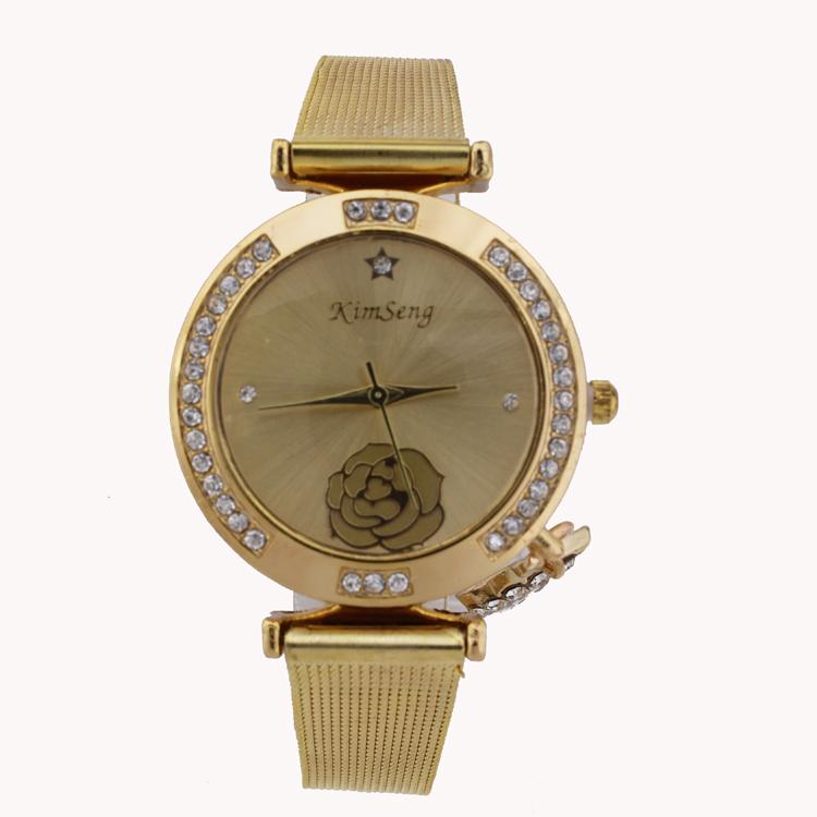 Steel Wire Mesh Belt Stars And Moon Shape Pendant Fashion Women Watch Gold Reloj cuarzo