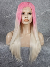 K02 Pink Root To Light Blonde Ombre Color Straight Synthetic Lace Front Wig Heat Resistant Heavy Density kanekalon Lady Wigs