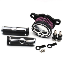 """Skull 25mm 1"""" Motorcycle Handlebar Hand Grips & Air Cleaner Intake Filter System Set For Harley Davidson Sportster XL883 XL1200(China (Mainland))"""