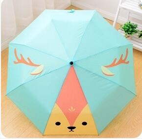 Cartoon Cute Fox Animation Women Cartoon Cat Child Creative Umbrella Ultralight Sunscreen Adorable Sunny Umbrellas Three Folding(China (Mainland))